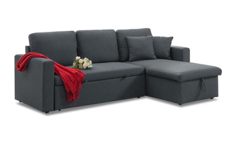 Sofa giường chữ L thường bố trí góc tường hoặc phòng khách